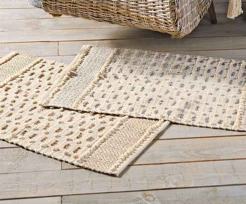 Chevron Stripe Knotted Throw Rugs, Set of 2