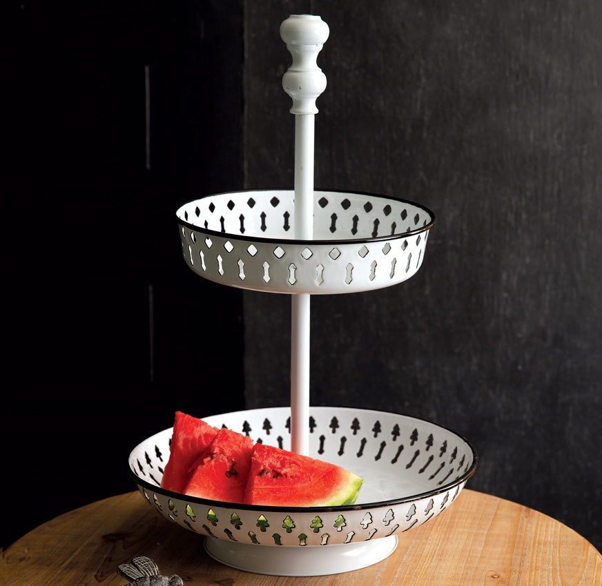 LARGE White Enamel 2-Tier Perforated Tray