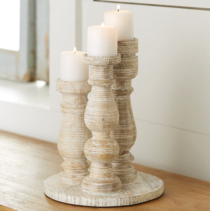 Three Votive White Wash Candle Stand