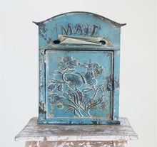 Vintage Inspired Tin Mail Box, Distressed Blue