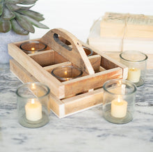Recycled Wood Trug with 6 Glass Votive Holders