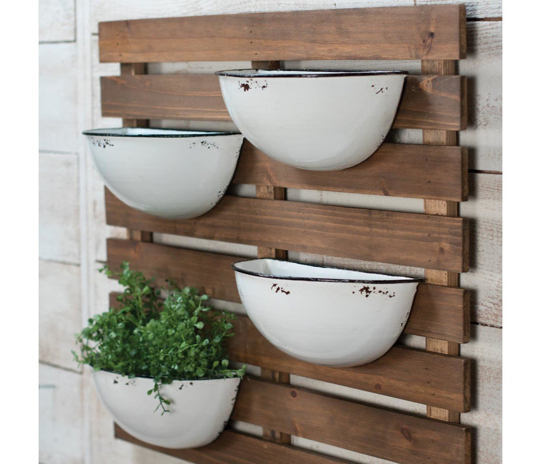 Enamel 4 Pot Wall Planter Farmhouse Fresh Home