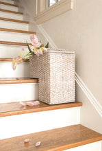 White Wash Rattan Stair Basket with Handles