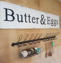 "Vintage Embossed Metal ""Butter & Eggs"" Sign"