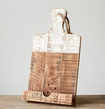 Wood Cookbook/Tablet Holder with White-Washed Dipped Finish