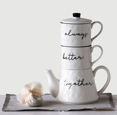 Always Better Together Stackable Stoneware Teapot and Mugs Set