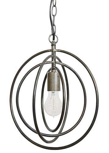 Large Aged Steel Cage Pendant Light