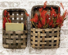 Aged Tobacco Wall Pocket Baskets, Set of 2