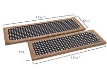 Enameled Mango Wood Black Gingham Trays, Set of 2