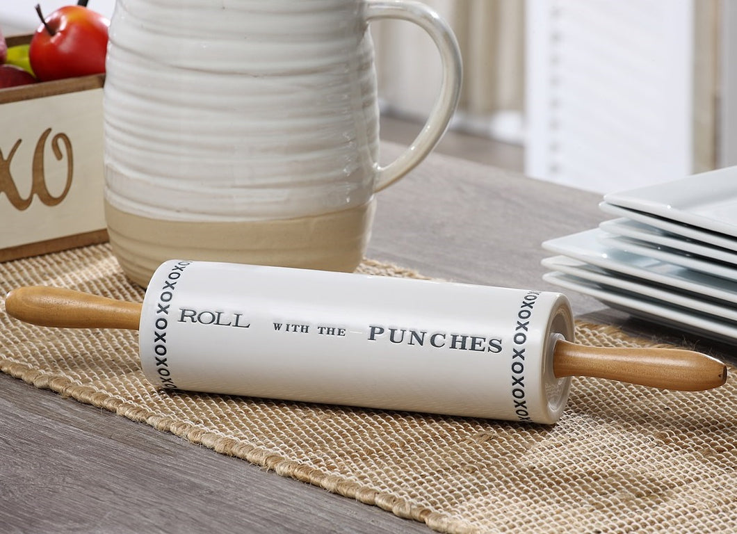 LARGE Roll With The Punches Ceramic Rolling Pin