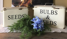 Vintage Enamel Bulbs & Seeds Bins with Handles, Set of 2