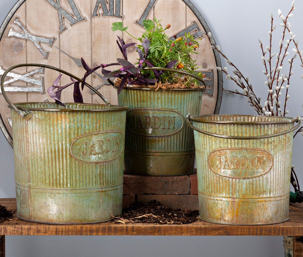 Camilla Galvanized Buckets with Rusted Finish, Set of 3