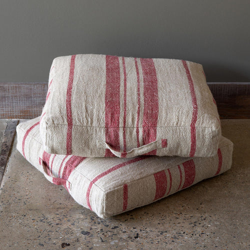 Linen Red and Beige Stripe Floor Pillow with Handle