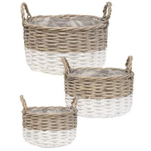 White Dipped Willow Bushel Basket Planters, Set of 3