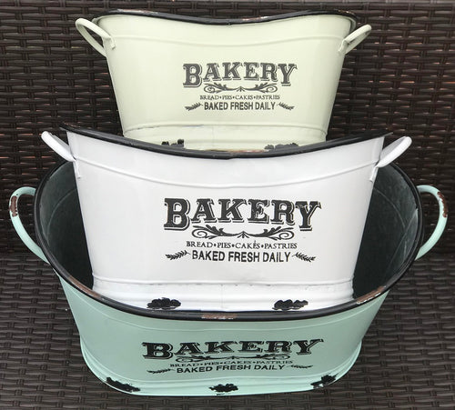 Set of Three Enameled Bakery Bins