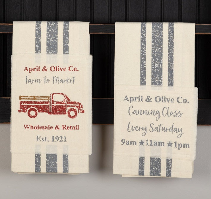 April & Olive Delivery Truck & Canning Class Tea Towels, Set of 2