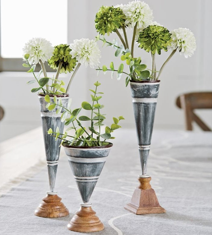 Tin and Wood Bud Vases, Set of 3