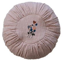 "14"" Round Embroidered Cotton Slub Pillows, Set of 2"