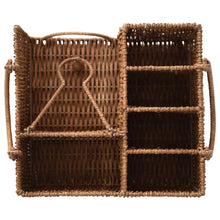 Rattan Caddy with Handles and 7 Compartments