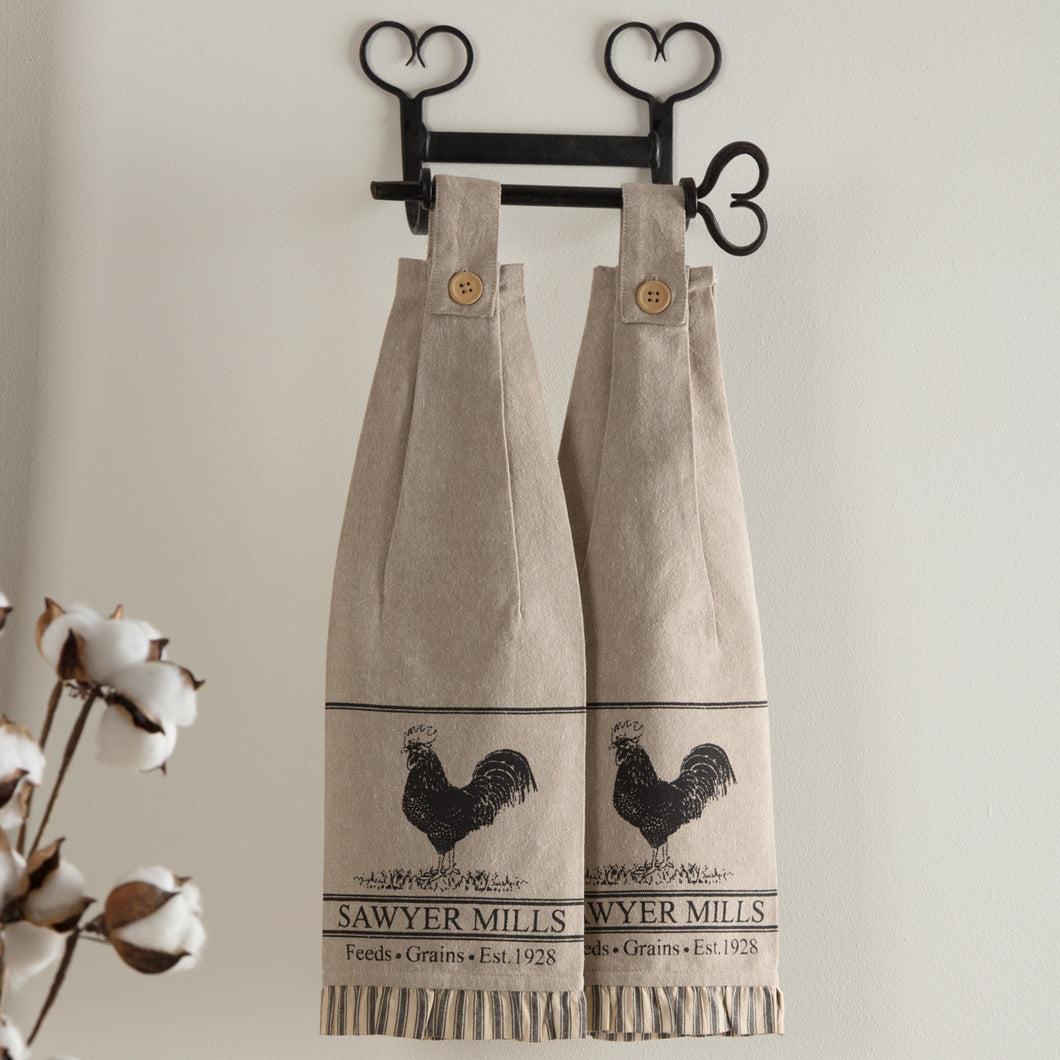 Sawyer Mill Charcoal Poultry Button Loop Kitchen Towels, Set of 2