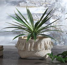 Namib Cement Basket Pot with Tassels