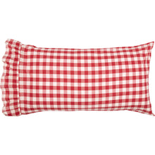Red Buffalo Check Ruffled KING Quilt Coverlet & Pillow Case Set