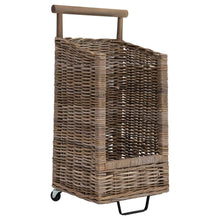 LARGE Rattan Basket Cart with Casters