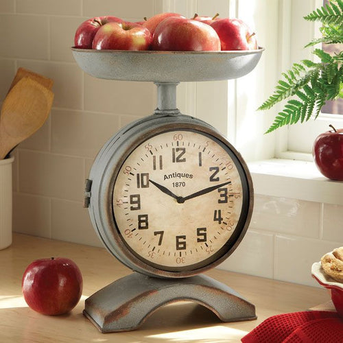 Large Vintage Style Two-Sided Scale Clock