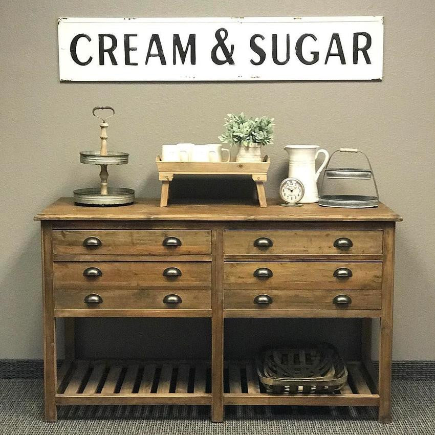 "Antique Cream Wood Metal Wall Decor: Vintage Embossed Metal ""Cream & Sugar"" Sign"