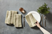 Green Striped Grainsack Napkins, Set of 4
