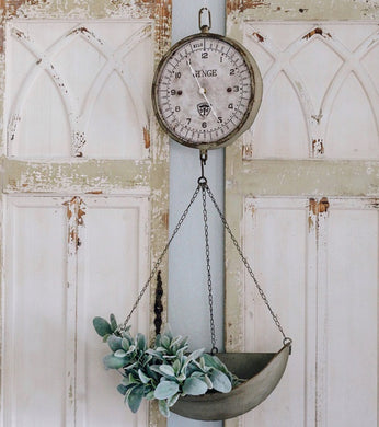 Vintage Inspired Metal Hanging Produce Scale Clock