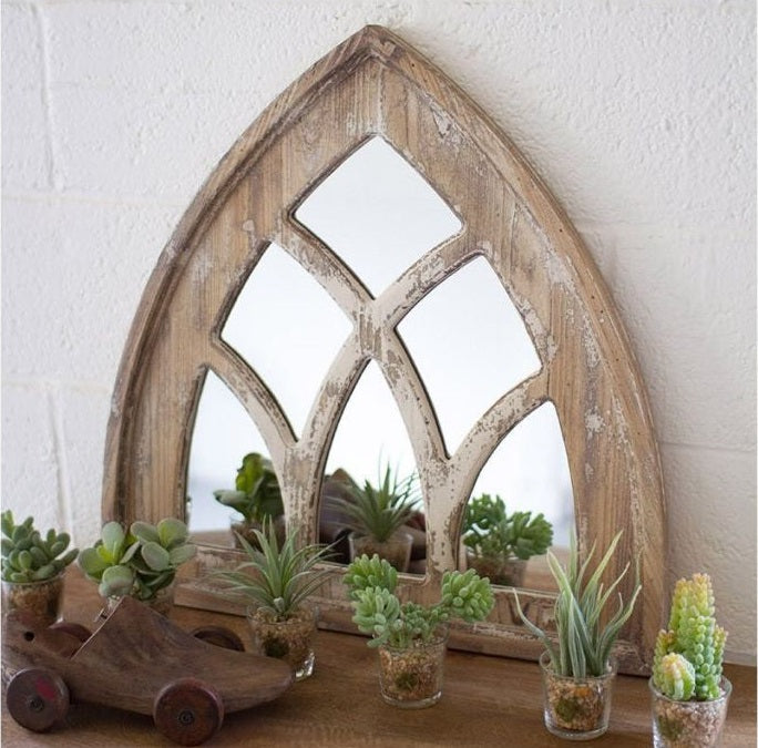 Distressed Wood Cathedral Church Mirror