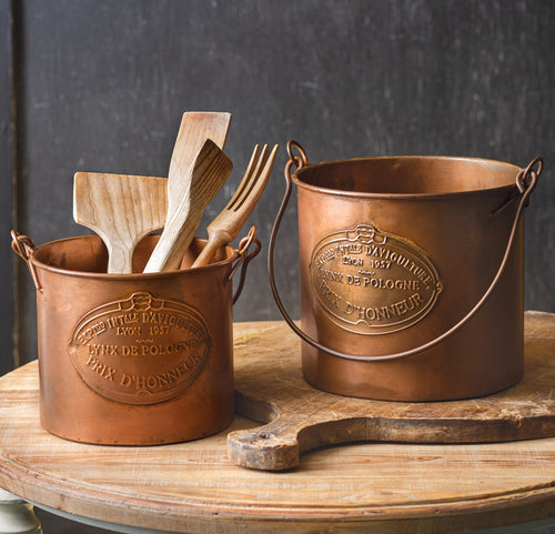 French Country Copper Finish Buckets, Set of 2