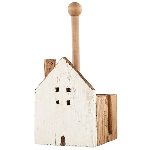 Chippy White Wood House Paper Towel Holder