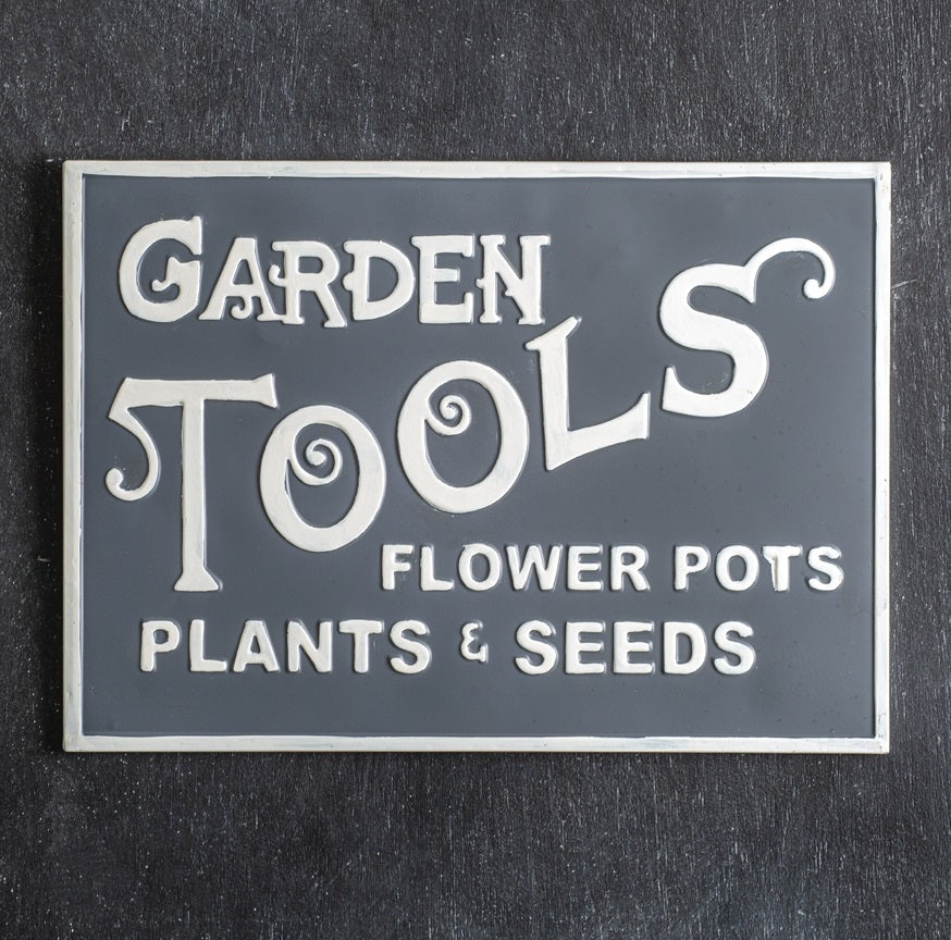 Vintage Embossed Metal Garden Tools Sign