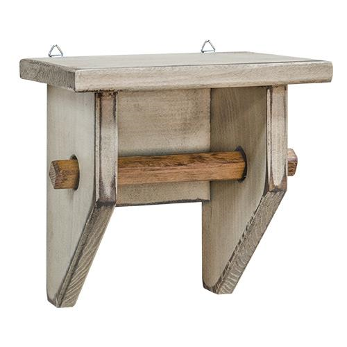 Distressed Wood Toilet Paper Holder with Shelf