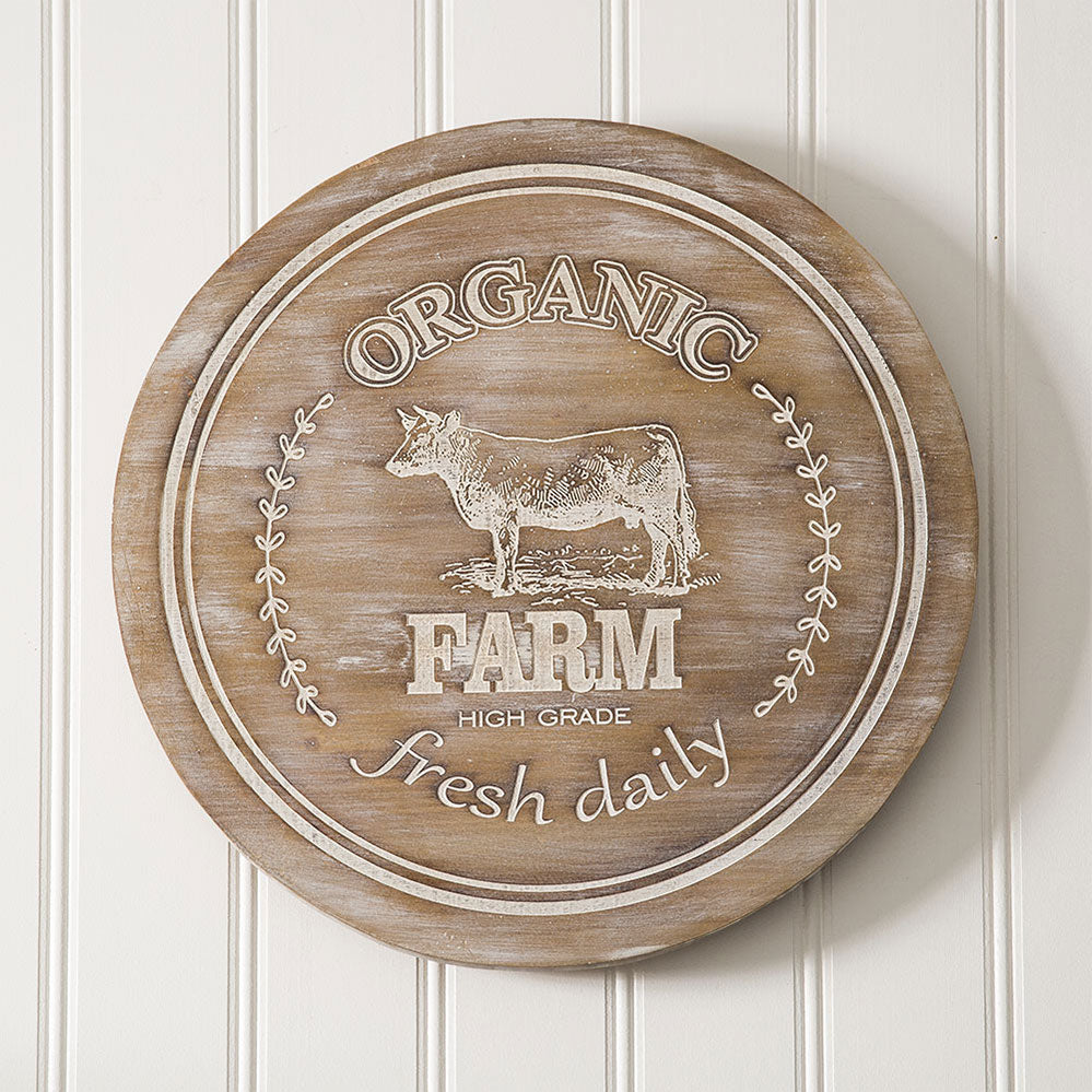 HUGE White Wash and Wood Organic Farm Lazy Susan