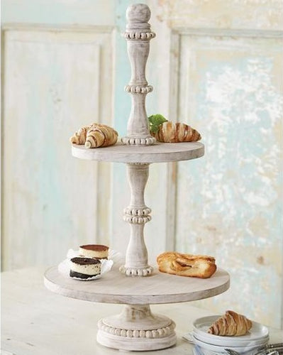Beaded White-Washed Wood 2-Tier Server
