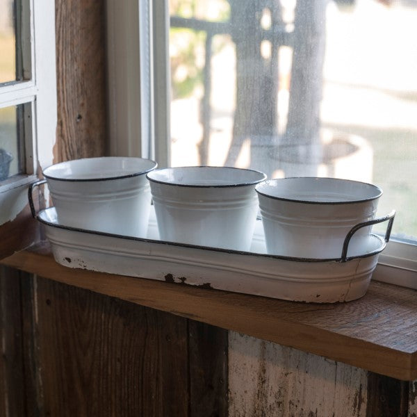 Enamel Garden Pots with Tray