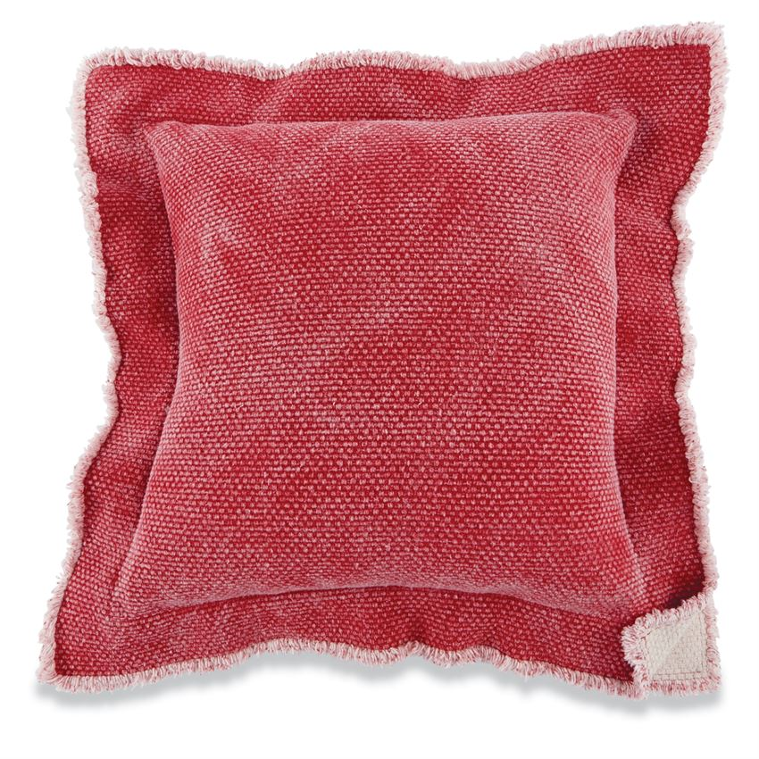 Faded Red Double Flange Pillows, Set of 2