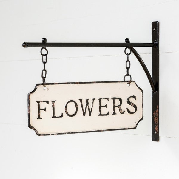 Metal FLOWERS Sign with Hanging Display Bar