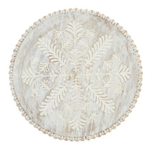 HUGE Hand Carved & Beaded White Wash Lazy Susan