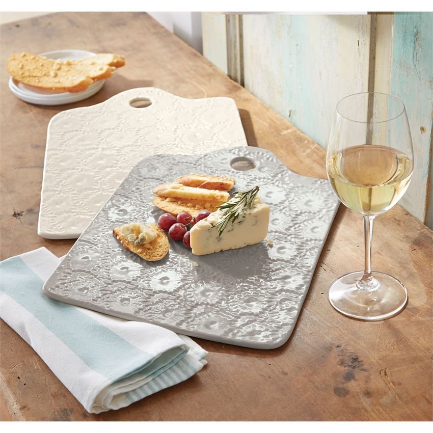 Pressed Stoneware Boards, Set of 2