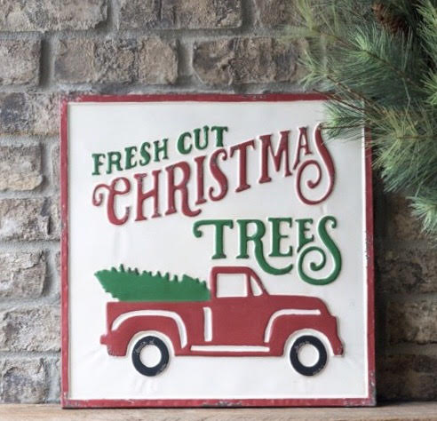 Vintage Embossed Metal Fresh Cut Christmas Trees Sign