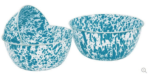 Enamel Mixing Bowl Set of 3, Turquoise and Cream Marble