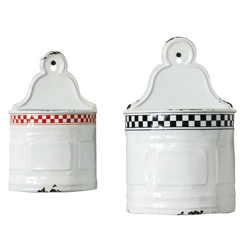 Vintage Inspired Enamel Wall Containers