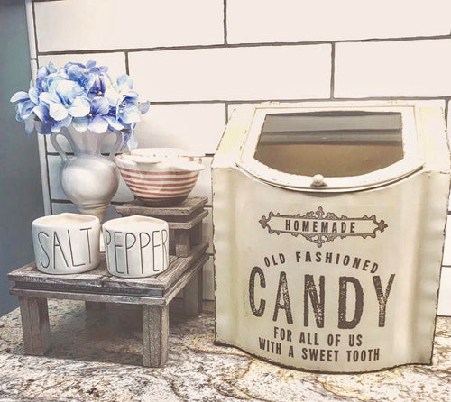 LARGE Vintage Style Antique White Candy Box