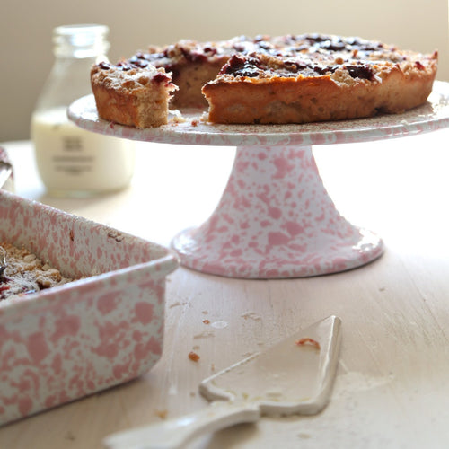 Pink and White Marble Enamel Cake Stand