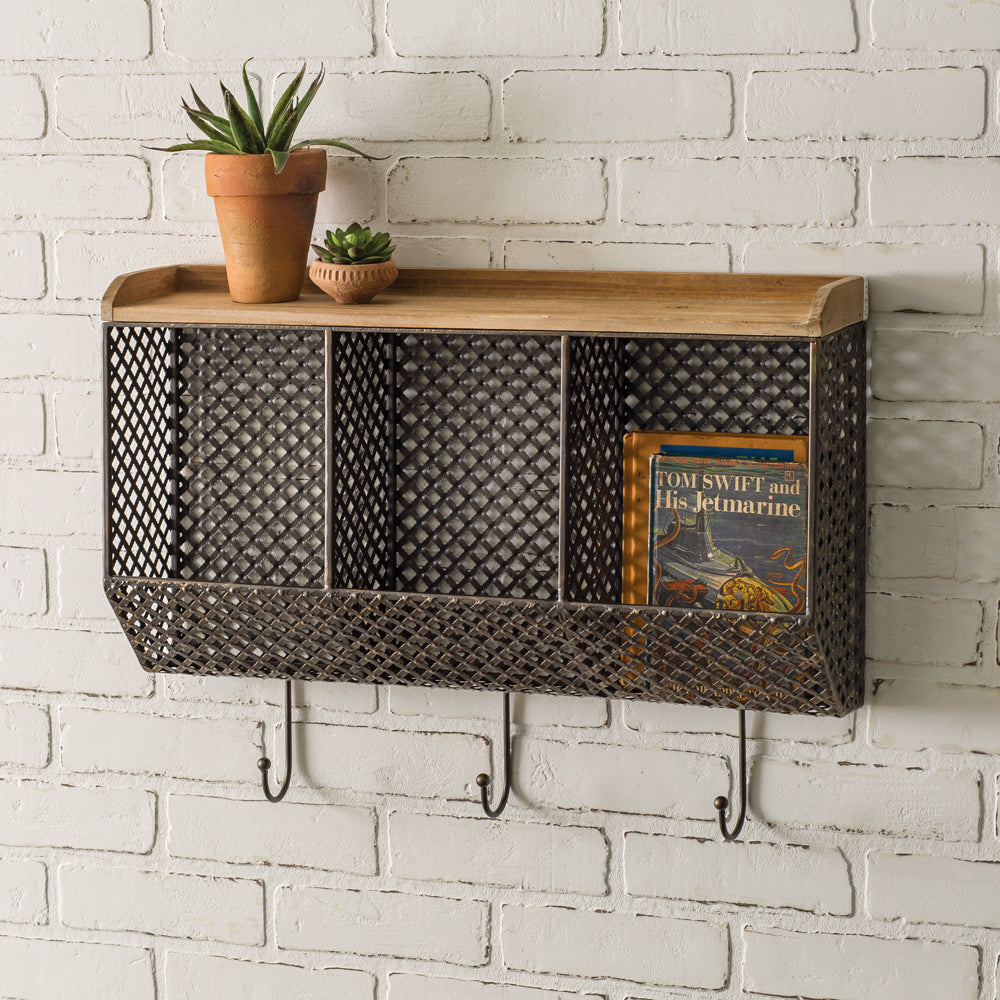 Three Bin Metal and Wood Wall Organizer with Hooks