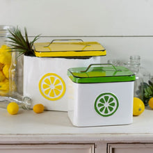 Vintage Style Enamel Lemonade Canisters, Set of 2
